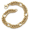 Italian 14k Gold Polished and Textured Fancy Link Bracelet - 7.5 inches - Thumbnail 0