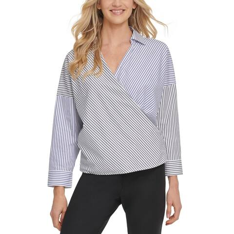 DKNY Women's Top Blue Size Large L Knit Collared Striped Surplice