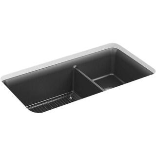 "Kohler K-8204  Cairn 33-1/2"" Undermount Double Basin Stone Composite Kitchen Sink"