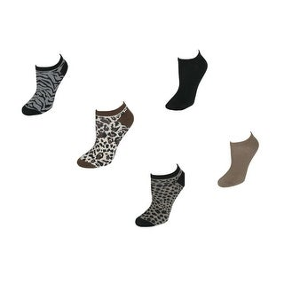 K. Bell Women's Solid Color/Animal Print No Show Ankle Socks (Pack of 12)