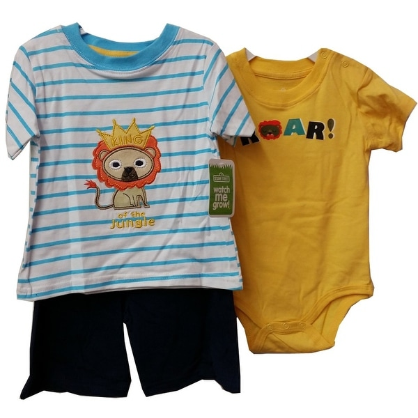 Baby Boys Yellow Bodysuit Lion T-shirt Summer Shorts 3 Pcs Outfit Set 12-18M