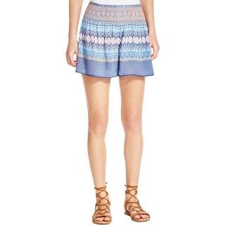 Aqua Womens Casual Shorts Smocked Pull On