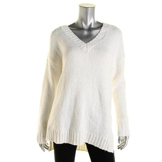 MICHAEL Michael Kors Womens Ribbed Trim V Neck Pullover Sweater - S