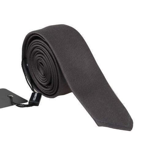Dolce & Gabbana Brown Silk Solid Skinny Men's Tie - One Size