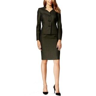 Le Suit NEW Black Women's Size 14 Tweed Three-Button Skirt Suit Set