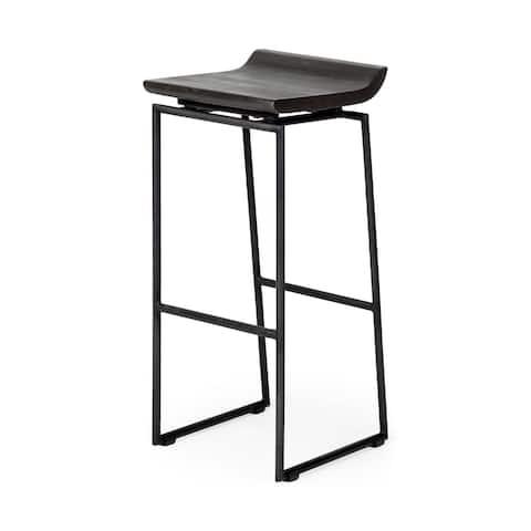 "Mercana Givens 30.25"" Seat Height Black Wood Seat Black Metal Base Stool - 14.0"" W x 15.75"" D x 31.75"" H"