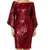 Betsy & Adam Red Womens 16W Plus Sequined Off Shoulder Sheath Dress
