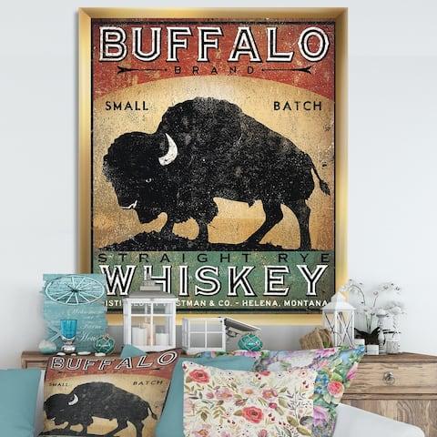 Designart 'Vintage Buffalo Whiskey' Wildlife Premium Framed Art Print
