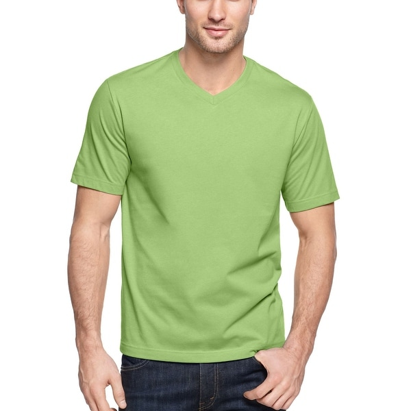 John Ashford Essentials T-Shirt Cucumber Green Solid V-Neck Tee Shirt