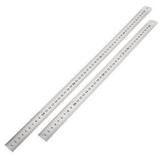 Unique Bargains Stationery Silver Tone 40cm 50cm Measuring Scale Straight Ruler 2 in 1