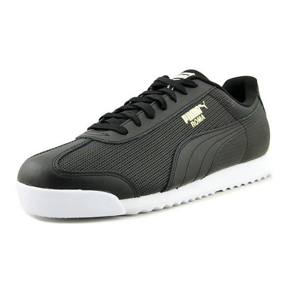 Puma Roma Classic Perf Men Round Toe Leather Black Sneakers