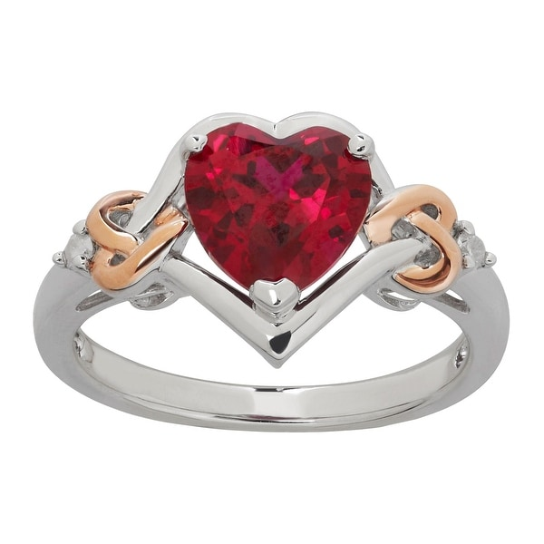 2 1/5 ct Created Ruby Heart Ring with Diamonds in 14K Rose Gold-Plated Sterling Silver