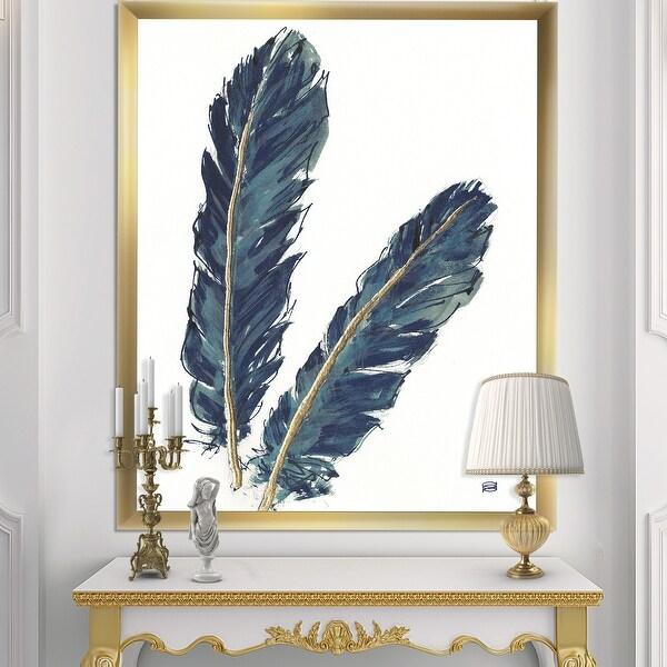Designart 'Gold Indigo Feathers IV' Modern Bohemian Framed Art Print. Opens flyout.