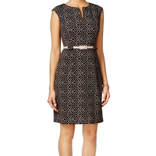 Connected Apparel NEW Black Women's Size 14 Printed Belted Sheath Dress