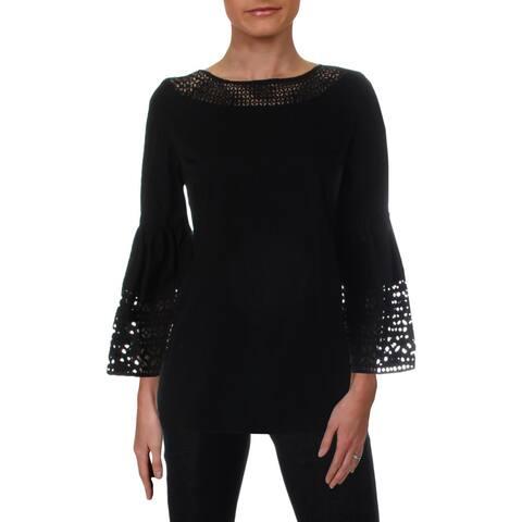 4752d6984 Lauren Ralph Lauren Womens Mallalia Blouse Laser Cut Bell Sleeves