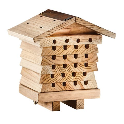 Wildlife World Wood Solitary Bee Hive for Pollinating Red Mason, Leafcutter Bees & More - 7 in. x 7.5 in. x 6.5 in.