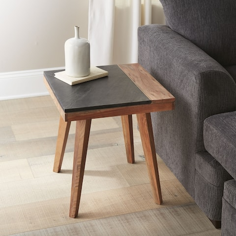 Carson Carrington Chester Solid Wood and Slate Square Side Table