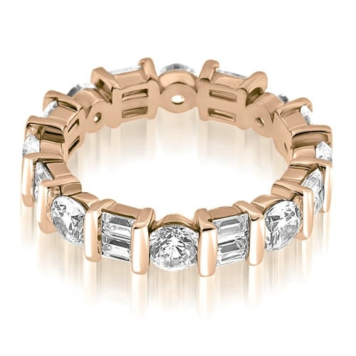 2.25 cttw. 14K Rose Gold Modern Bar Set Round Baguette Diamond Eternity Ring