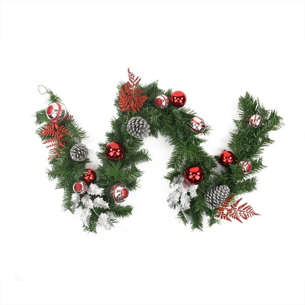 6' Red and Silver Ornaments and Pine Cone Artificial Christmas Garland - Unlit