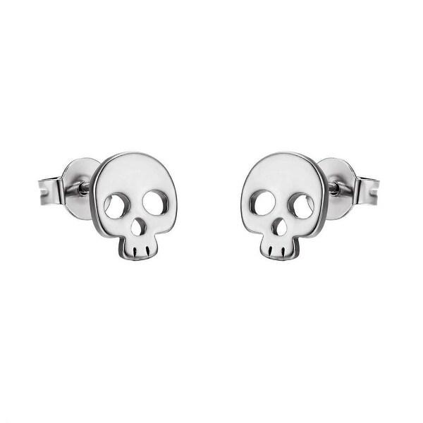 Stainless Steel Skull Face Earrings Studs Mens Goth Biker Silver Tone Boys