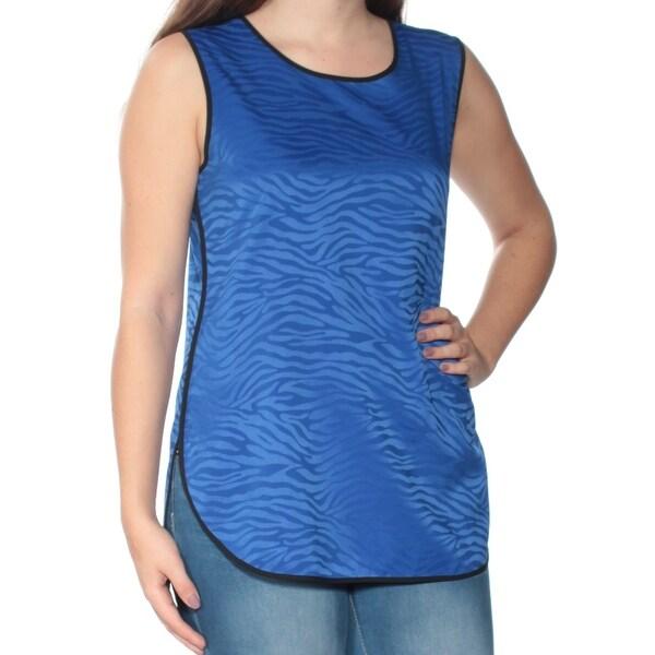 VINCE CAMUTO Womens Blue Animal Print Sleeveless Jewel Neck Top Size: S