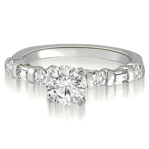 1.10 cttw. 14K White Gold Round And Baguette cut Diamond Engagement Ring
