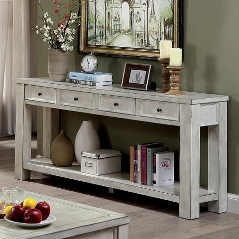 Furniture of America Piza Rustic Solid Wood 4-drawer Sofa Table