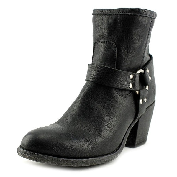 Frye Tabitha Harness Short Round Toe Leather Ankle Boot