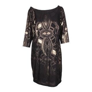 Sangria Plus Size Black Gold Metallic-Print 3/4-Sleeve Drape Front Sheath Dress 16W