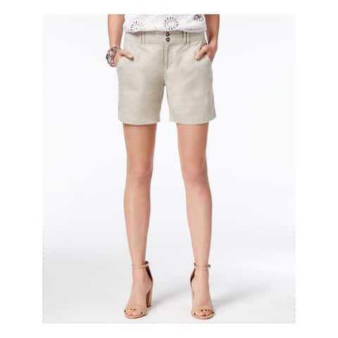 INC Womens Gray Rhinestone Regular Fit Straight leg Short Size 2