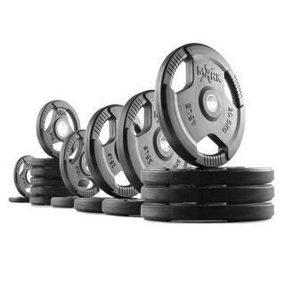XMark rubber coated tri-grip Olympic weight plates - 355 lbs. = (4) 45 lb. (2) 35 lb. (2) 25 lb. (2) 10 lb. (6) 5 lb. (2) 2.5 lb