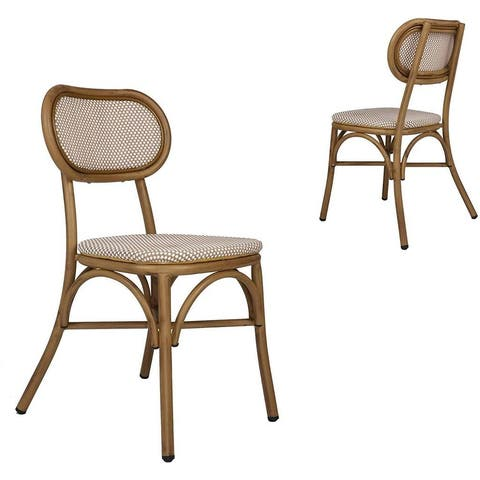 Outdoor Rattan Leisure Chairs Garden Patio Chair Set, Metal Chair Frame with Textilene Seat, Set of 2, Armless, Khaki
