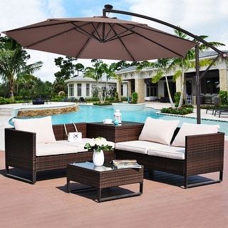 Costway 10u0027 Hanging Solar LED Umbrella Patio Sun Shade Offset Market W/Base  Tan