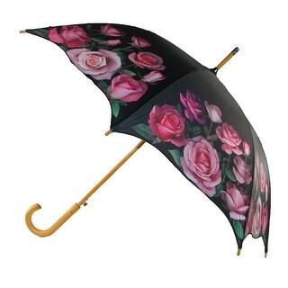 CTM® Women's Auto Open Rose Print Stick Umbrella - Black - One Size