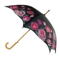CTM® Women's Auto Open Rose Print Stick Umbrella - One size