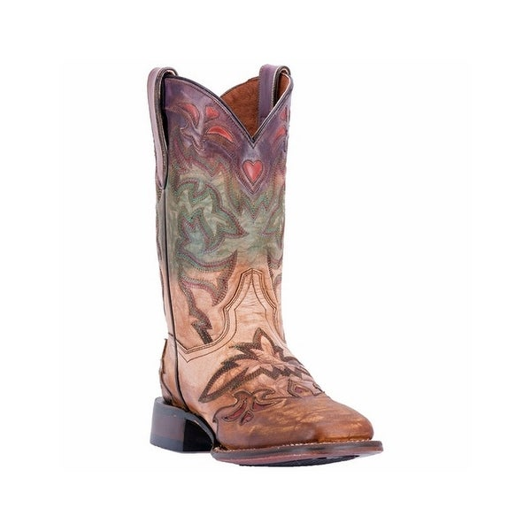 Dan Post Western Boots Womens Hand Painted Square Multi-Color