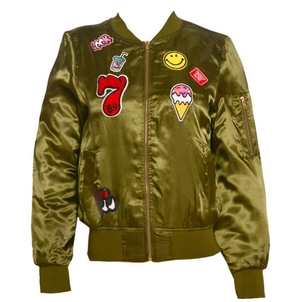 63455e9b2 Casting LA Junior Girls Olive Embroidered Zipper Closure Bomber Jacket