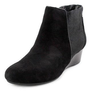 Rockport Total Motion Wedge Bootie 45mm Women Round Toe Suede Black Ankle Boot