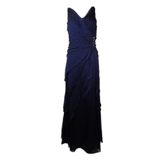 Ignite Evenings Women's Beaded Tiered Ruched Gown - 8