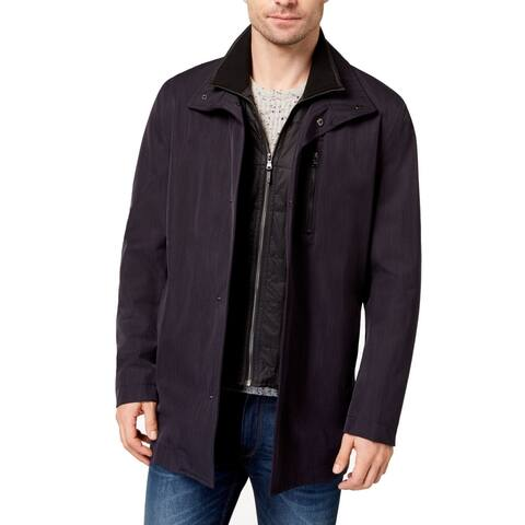 Michael Kors Mens Jacket Navy Blue Size 44L Raincoat Bayard Slim-Fit