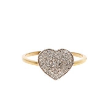 14K Gold Pave Heart Shape Diamond Ring