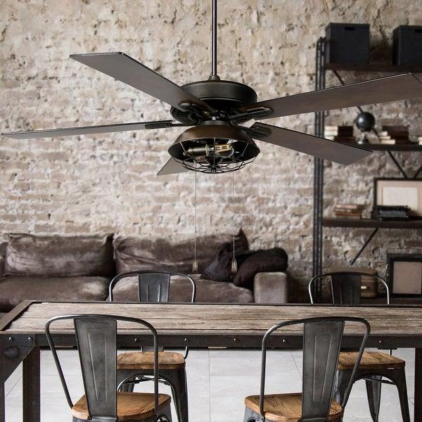 Carbon Loft Dagmar 52-inch Farmhouse Lantern 5-blade LED Ceiling Fan. Opens flyout.