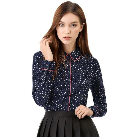 Unique Bargains Women's Long Sleeve Button Down Polka Dot Shirt