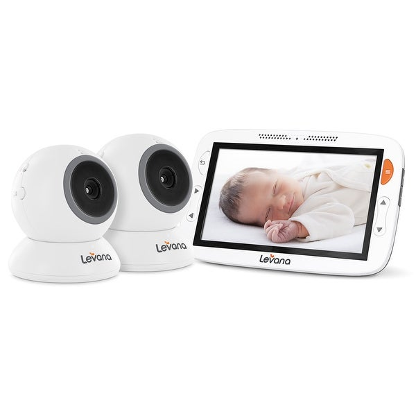 "Levana Alexa 5"" LCD Video Baby Monitor with 2 Cameras, 12 Hour Battery Life, Feeding/Nap Timer and Two Way Intercom"