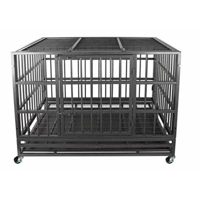 confote Heavy-Duty Strong Metal Dog Crate Cage - Indoor Outdoor Kennel