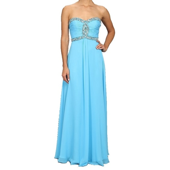 9be79b76b5 Faviana NEW Peacock Blue Women's Size 2 Embellished Ball Gown