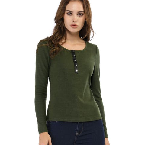 Women Knit Top Henley Neck Button Basic Casual Long Sleeve Shirt