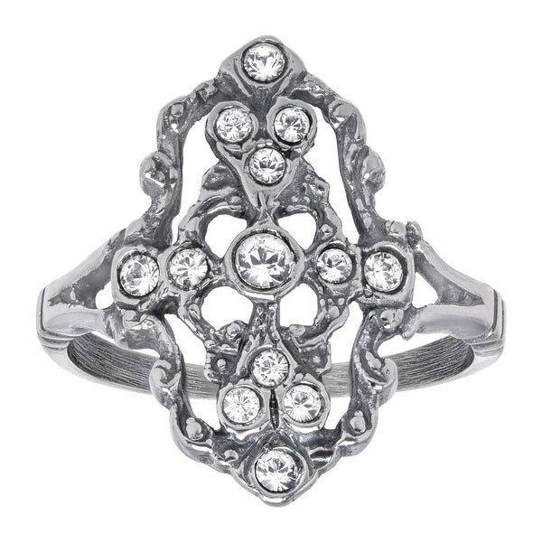 Van Kempen Victorian Ring with Swarovski Elements Crystals in Sterling Silver - White