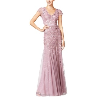 Adrianna Papell Womens Formal Dress Embellished Cap Sleeves - 10