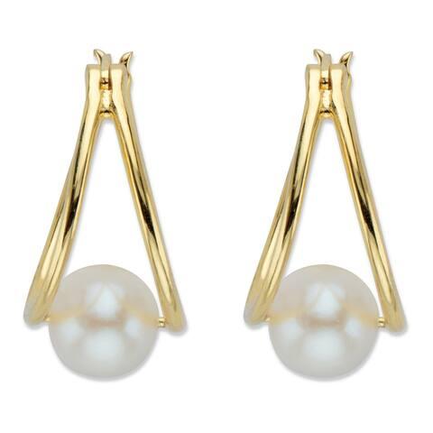 Yellow Gold Plated Sterling Silver Genuine Pearl Split Hoop Earrings